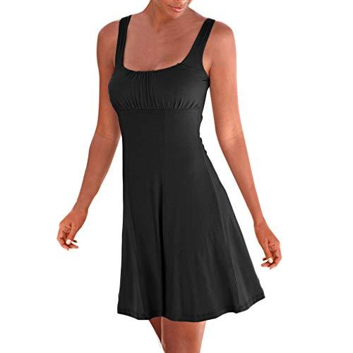 Writtian Damen Sommerkleid Sexy Beiläufig Sommerkleid Mode Lose Ärmellos Strandkleid Elegant Minikleid Lose Großes Sommerkleid Frauen-Feiertags-Sommer-festes ärmelloses Hoch Taille Strandkleid