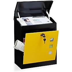 Relaxdays 10020775_359 Boîte aux Lettres Murale Grande XL pour Paquet avec clapet sécurité avec clés HxlxP: 53 x 43,5 x 26 cm, Noir-Jaune