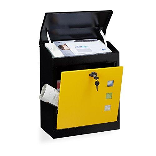 Relaxdays Briefkasten groß, Stahl, Sicherheits-Klappe, Schloss, HxBxT: 53 x 43,5 x 26 cm, Wandbriefkasten, Schwarz-Gelb