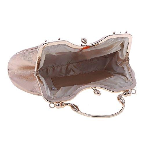 Damara® PU Leder Kristall Damen Abend Täglich Tasche Handtaschen Mit Henkel Silber