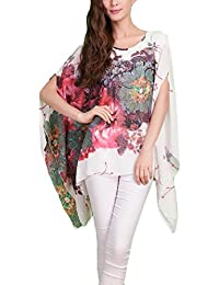 Mujer Camisas Chiffon Vintage Moda Floreadas Camisas Mujer Elegantes Basic Ropa Irregular Anchas Mangas De Murciélago