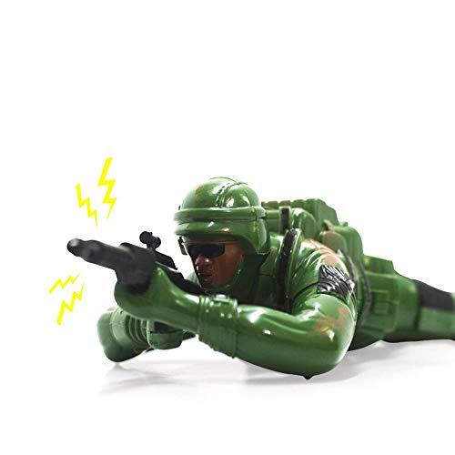 AOLVO Krabbelspielzeug, Krabbel-Armeekorp-Soldat, batteriebetrieben, Spielzeug-Action-Figur mit realistischer Krabbelbewegung, Lichter, Geräusche grün -