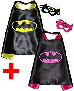SquishyBean 2Sets Kinder Cape und Masken/und Batman/Batgirl Kostüme Super Hero Kleid bis Batman & Bat Girl Kostüme/Avengers und Batman/Batgirl Fancy Kleid (Batman Kostüm 1 Jahr Alt)