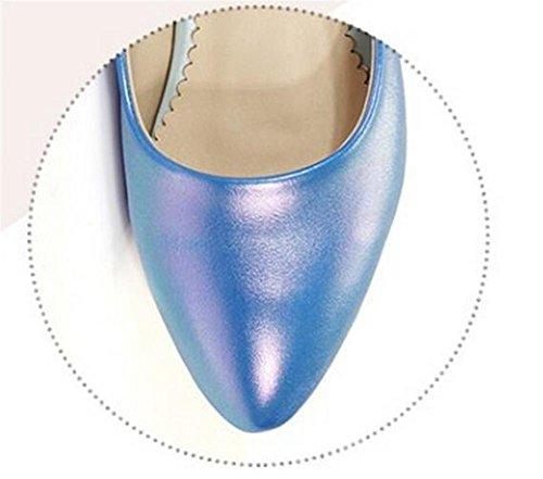Confortevole tacco basso chiuso le dita dei piedi Shallow pattini della bocca svago Court blue