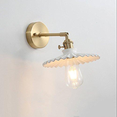 Amerikanische Luxus-Kupfer-Lampe Vintage Keramik-Lampenschirm Wand Lampe Spiegel für Bad Korridor Bar Küche Wandleuchte Sconces dekorieren Indoor-Wand Laterne (Größe : Style A)