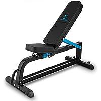 Capital Sports Adjustar Banco de entrenamiento adaptable (peso máximo soportado 300kg, varios niveles de apoyo ajustables, asiento regulable, cuero sintético alcochado 5cm, acero negro)
