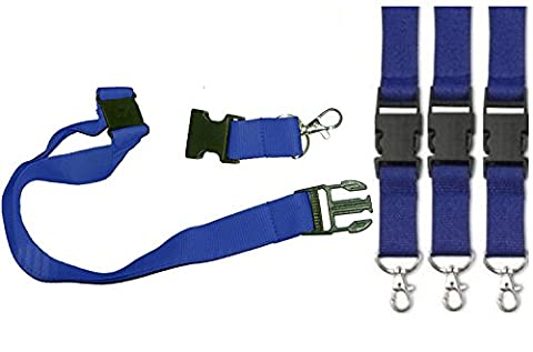 Lanyard with Safety Clip and Keyring (3 x Blue)
