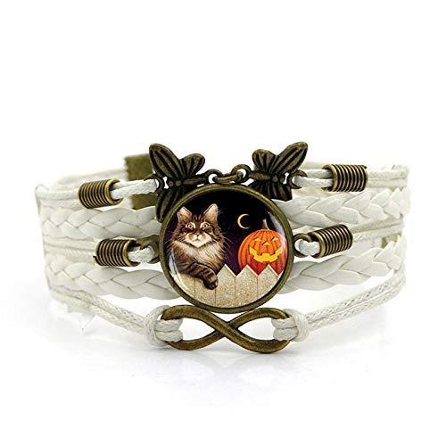 Blisfille Halloween Kürbis Katze Zeit Edelstein Armband Vintage Schmetterling Infinity Gewebt Leder Schmuck Herren Damen Karnevalsfeier