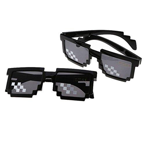 HAPPYX Thug Life Sunglasses, Sonnenbrille Sie Sich mit 8 Bit Pixel, Mosaik, Unisex Sonnenbrille Spielzeug, Stil MLG Schattierungen (Style A)