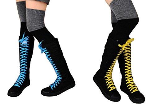 Wealsex Baskets Mode Montantes Au Genou Botte Lacet colorés En Toile Plate Sneakers Tennis Chaussures Casuel Femme noir+sept paris de lacet colorés