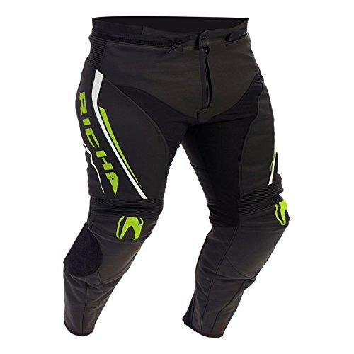 Richa Monza CE in pelle moto jeans/pantaloni-nero/giallo