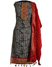 KATHIWALAS Women's Cotton Silk Bandhani Kutchh Work Salwar Suit Material (Batik Red, Free Size)