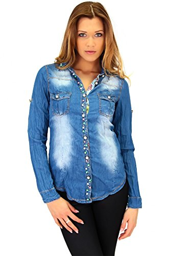 Moderne Jeansbluse im Knitter look Blau, Größe:XL