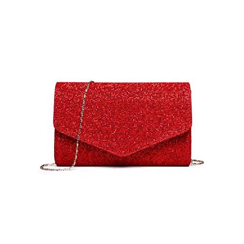 7729ea559761b Miss Lulu Glitzer Clutch Bag Elegante Kettentasche Damen Tasche Handtasche  Hochzeit Abendtasche Umhängetasche glitzernd (LH1801