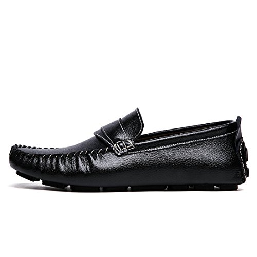 Minitoo Boys Mens Classic Stripe Daily Wear Casual Loafers Black