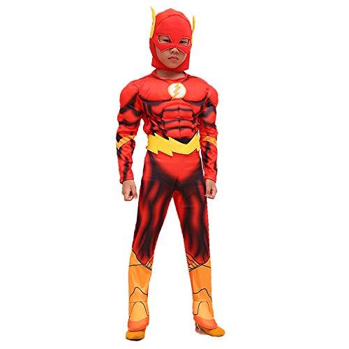 Kinder Flash Kostüm Deluxe - Hope Das Flash Kostüm Jungen Anime Superman Deluxe Jumpsuit Kinder Strampelanzug Kostüm Outfit Halloween Kleidung,Red-S