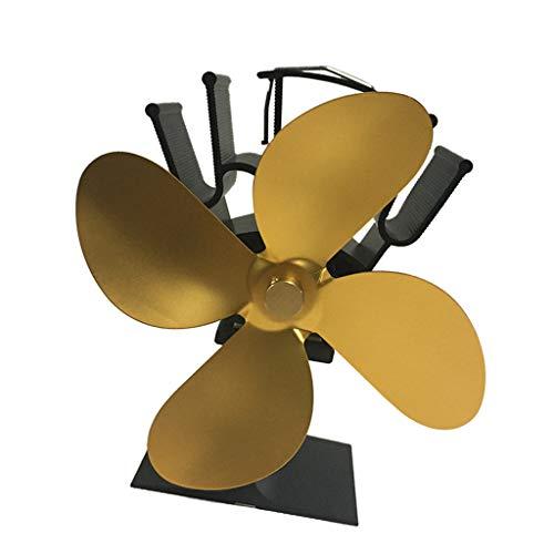 KESOTO Hitzebetriebener Lüfter Ventilator Ofenventilator 4 Blätter für Holzofen Kamin, ohne Strom - Golden