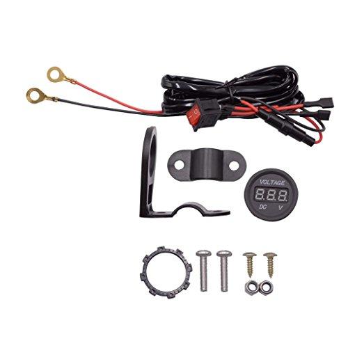 Sharplace Digital Voltmètre Volt Gauge de Moto 12-24V LED - Vert