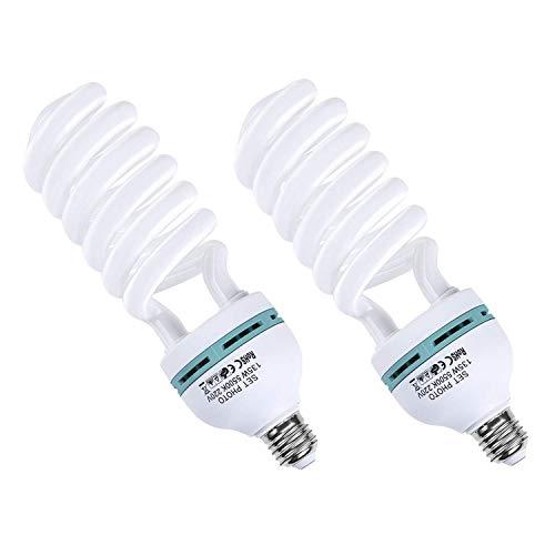 Amzdeal Fotolampe 2x135W Energiesparend und umweltfreundlich Fotoleiste Weniger Wärme Energiesparlampe E27 Birne für Fotostudio Studiobeleuchtung