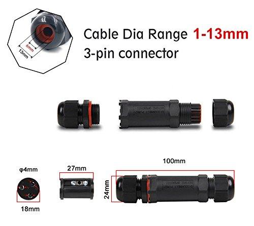 Verbindungsmuffe 3 Pack, IP68 Wasserdicht Kabelverbinder Anschlussdose 3 polige kabelverbindung, erdkabel abzweigdose kabel muffe für 1-13 mm(schwarz, PVC) für Feuchtraum Garten Kabel Verbindungsdose