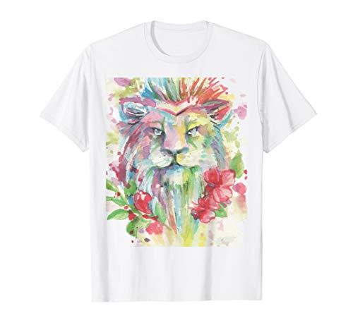 Aquarell Lion Blumen Kostüm Süßes Halloween Outfit T-Shirt (Lion Kostüm Frauen)