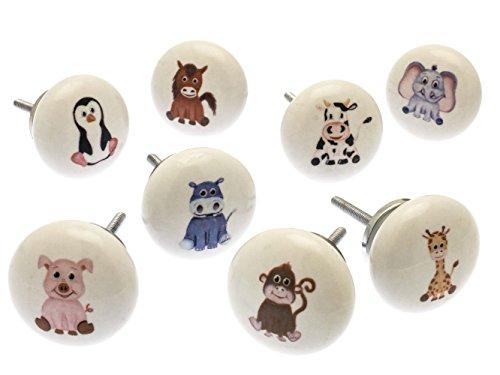 "Set mit Tiere Kinderzimmer Keramik Schrankknöpfe x Pack 8 (AF-21) - ""Mango Tree"" TM Registriert Produkt"