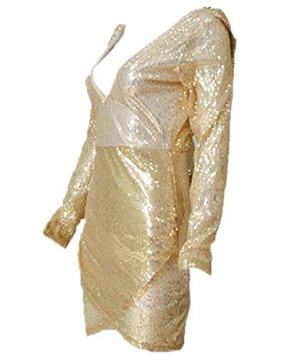 ZANZEA Sexy Femme Slim Robe de Soirée Cocktail en Sequin Ourlet Asymé Ajusté Mini Robe Or