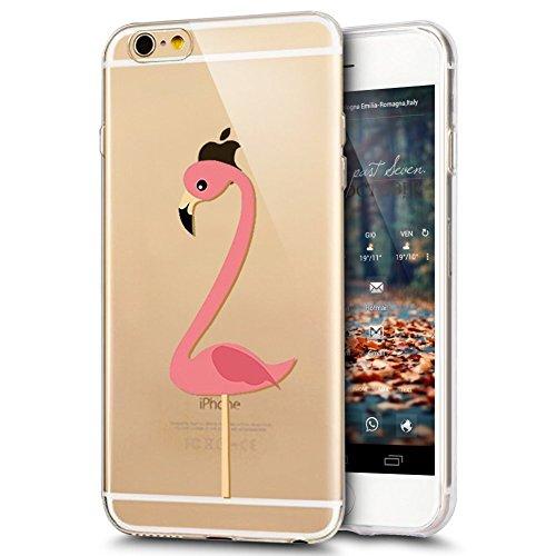 iPhone 6S Plus Hülle,iPhone 6 Plus Hülle,iPhone 6S Plus/6 Plus Silikon Hülle Tasche Handyhülle,SainCat Flamingos Flamingos Muster Ultra dünne Silikon Hülle Schutzhülle Durchsichtig Hadytasche Stoßfest Einzel-Flamingo