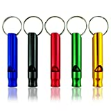 franterd 10pcs Emergency Hiking Camping Survival Aluminum Whistle Key Chain with red/Green/Blue Color