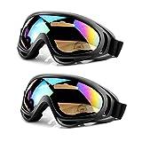 MOYA Life Gafas de Esquí Prueba de Polvo Protección de la Nieve Protección UV Ajustable Hombre Mujer Niño al Aire Libre Portable de la Motocicleta Snowboard de los Anteojos 2 Pack