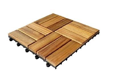 Brema 052145 Bodenfliesen-Set, bestehend aus 30 x 30 cm Bodenfliegen aus Akazienholz, 11 Stück