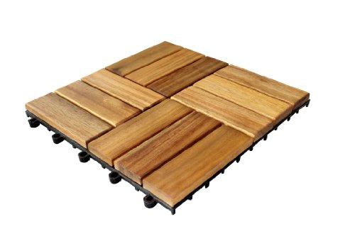 Galleria fotografica Brema 052145 Set di mattonelle da pavimento, composto da mattonelle in legno di acacia 30x30 cm, 11 pezzi