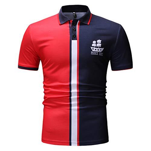 Btruely Herren T-Shirt Sommer Oberteil Revers Shirt Männer Basic Tee Kurzarm Hemden Groß Größe Tops Patchwork Kurzarmshirt