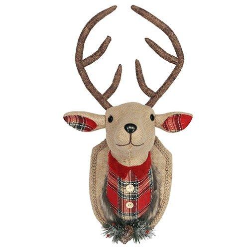 Gisela graham : decorazione natalizia : tessuto hessiano e testa di renna tartan