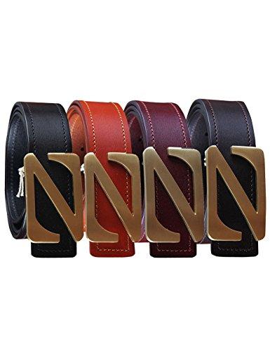 Menschwear Men's Belt Genune Leather Waistband with Copper Slide Buckle 38MM