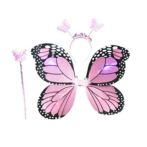 tüm, Feenflügel, Schmetterlings-Kostüm, mit Flügelstab und Halo zum Verkleiden und Rollenspielen, Rosa, 3 Stück ()