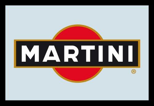 Empire 552044 - Specchio stampato con logo Martini, con cornice in plastica effetto legno, 30 x 20 cm