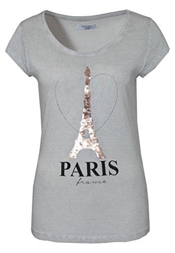 Sublevel Damen T-Shirt mit Wendepailletten Paris | Elegantes Basic Shirt Aus Hochwertigem Jersey Material Light-Grey XS