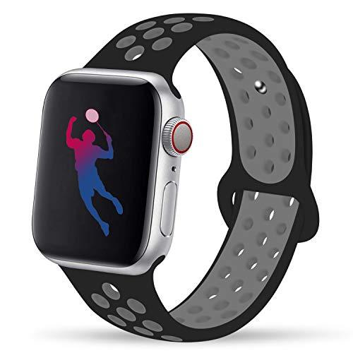 GIPENG para Correa Apple Watch 42MM 44MM, Suave Malla Silicona Correa, para iWatch Series 3, Series 2, Series 1, Nike+, Edition, Hermes (Negro/Gris frío, 42MM-ML)