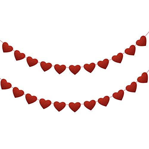 Howaf 12m/39.4 brillare san valentino decorazione rosso cuori ghirlanda banner pvc cuore matrimonio striscioni per festa di nozze, matrimonio, san valentino decorazioni da appendere