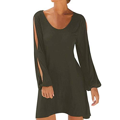 Tosonse Mode D'Été T-Shirt Robes pour Femmes Mini-Robe Lâche avec Manches Évidées Couleur Unie Chemise Longue