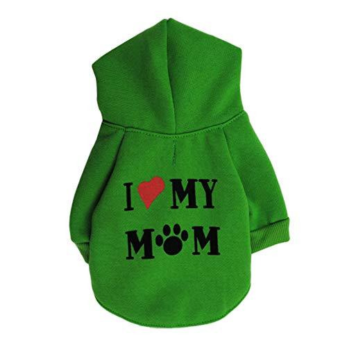 CricTeQleap Nette Haustier-Kleidung Welpen-Hoodie-Strickjacke-Hundewintermantel-warme Liebe Meine Mutter Gedrucktes Sweatshirt Green M