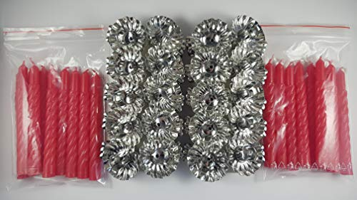 20 Metall Silber Klemmen Clip Weihnachtsbaum Kerzenhalter und 20 Rot Kerzen