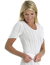 Slenderella Brettles Cotton White Short Sleeve Cami Top BUW012