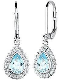 Elli edelsteinohrringe-boucles d'oreilles femme-gouttes-argent 925–oxyde de zirconium-topaze bleue-tropfenschliff 0303390915