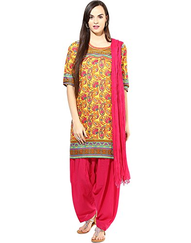 Jaipur Kurta Women's Straight Salwar Suit (JKPTD2493_Yellow and Pink_x-large)