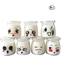 Pots pour yaourt ou crème dessert en verre avec décor émoticône et couvercles, contenance 100 ml