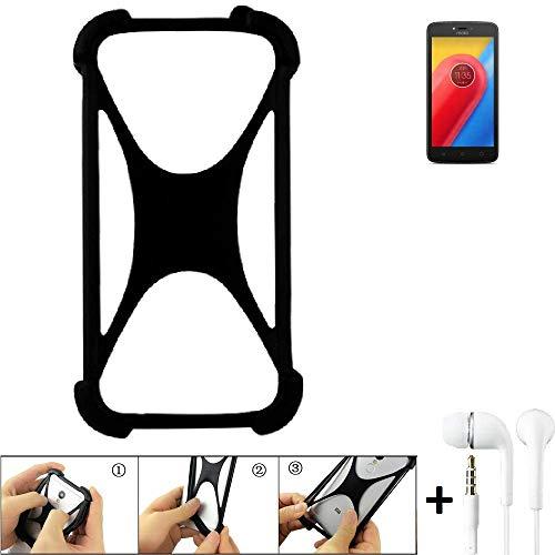 K-S-Trade Handyhülle Lenovo Moto C LTE Bumper Schutzhülle Silikon Schutz Hülle Cover Case Silikoncase Silikonbumper TPU Softcase Smartphone, schwarz (1x), Headphones