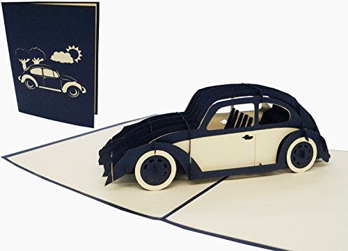Lin POP UP 3D Grußkarten Geburtstagskarten Gutschein Sammelkarte Auto Käfer (215)