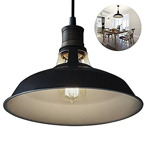 Trylight Industrial Vintage Pendant Light Shade, Pendant Ceiling Light Black Metal , Retro Ceiling Light Lighting for Restaurant, Loft, Coffee Bar, Kitchen (Bulb not Include)